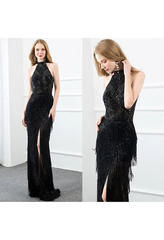 Black Slit Mermaid Prom Dresses Halter Beading Tassels - 7