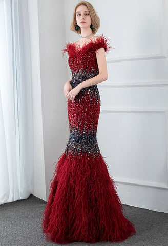 Image of Burgundy Mermaid Prom Dresses Feather Tassels Rhinestones - 5