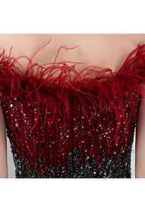 Burgundy Mermaid Prom Dresses Feather Tassels Rhinestones - 6