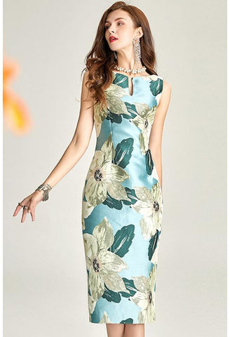 Image of Floral Jacquard Pencil Dresses Sleeveless - 1