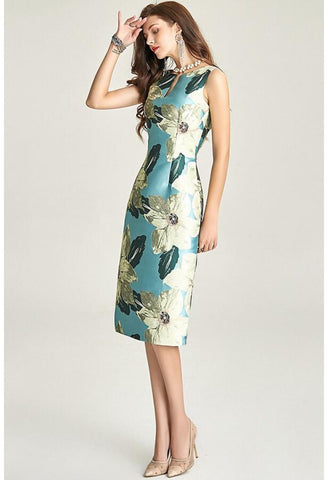 Image of Floral Jacquard Pencil Dresses Sleeveless - 2
