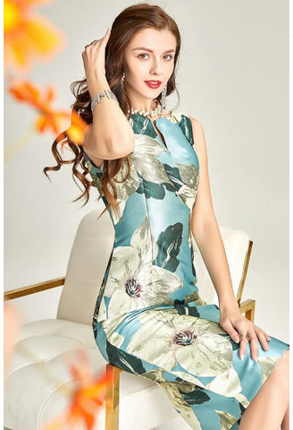 Image of Floral Jacquard Pencil Dresses Sleeveless - 3