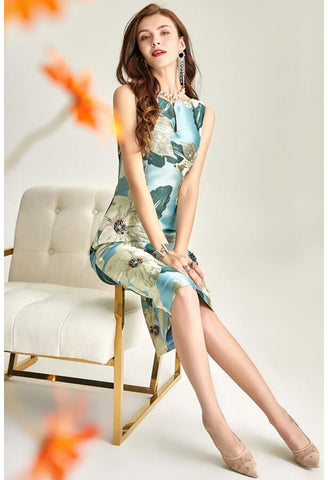 Image of Floral Jacquard Pencil Dresses Sleeveless - 4