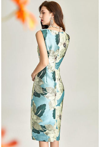 Image of Floral Jacquard Pencil Dresses Sleeveless - 5