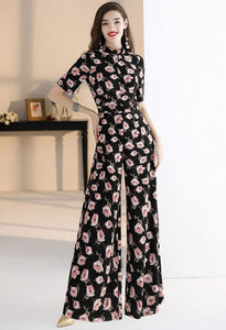 Floral Jumpsuit Long Sleeves - 3