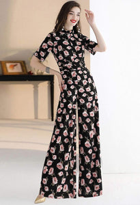 Floral Jumpsuit Long Sleeves - 2