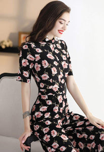 Floral Jumpsuit Long Sleeves - 5