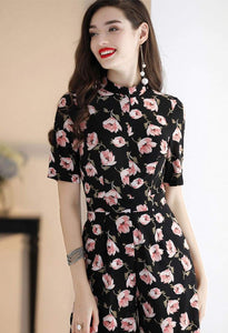 Floral Jumpsuit Long Sleeves - 6