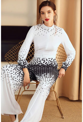 Image of Floral Print Jumpsuit Long Sleeves High Neck - 3