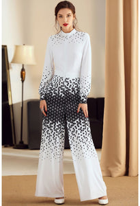 Floral Print Jumpsuit Long Sleeves High Neck - 5