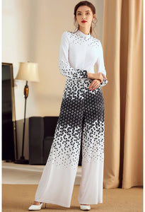 Floral Print Jumpsuit Long Sleeves High Neck - 2