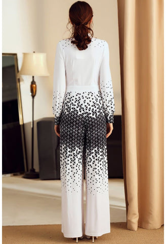 Image of Floral Print Jumpsuit Long Sleeves High Neck - 4
