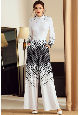 Image of Floral Print Jumpsuit Long Sleeves High Neck - 1