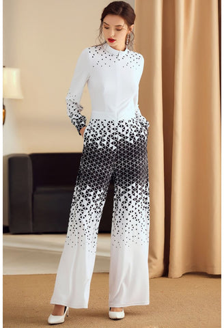 Image of Floral Print Jumpsuit Long Sleeves High Neck - 6