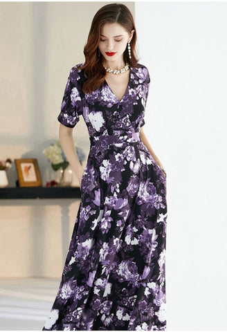 Image of Floral Print Maxi Dresses Half Sleeves - 10