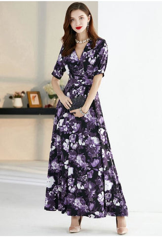 Image of Floral Print Maxi Dresses Half Sleeves - 2