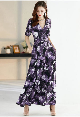 Image of Floral Print Maxi Dresses Half Sleeves - 1