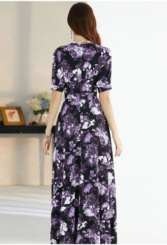 Image of Floral Print Maxi Dresses Half Sleeves - 6