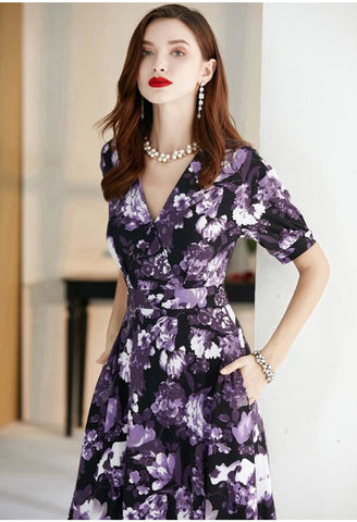Image of Floral Print Maxi Dresses Half Sleeves - 3