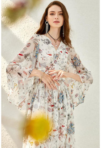 Image of Floral Print Midi Dresses Chiffon V-Neck Trumpet Sleeves - 3