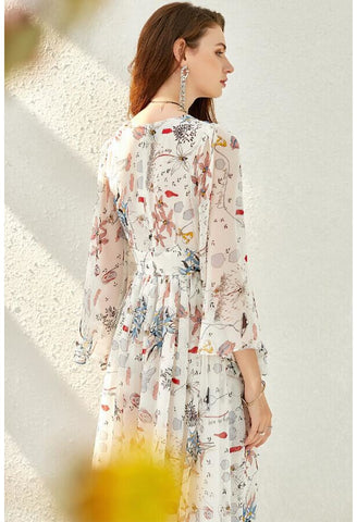 Image of Floral Print Midi Dresses Chiffon V-Neck Trumpet Sleeves - 5