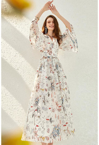 Image of Floral Print Midi Dresses Chiffon V-Neck Trumpet Sleeves - 1