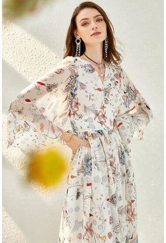 Image of Floral Print Midi Dresses Chiffon V-Neck Trumpet Sleeves - 4