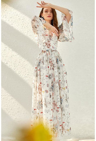 Image of Floral Print Midi Dresses Chiffon V-Neck Trumpet Sleeves - 2