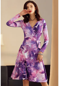 Floral Print Wrap Dresses Knee Length - 1