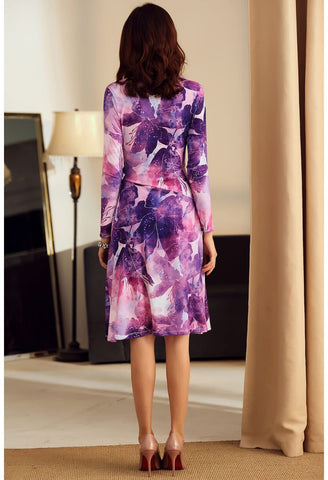 Image of Floral Print Wrap Dresses Knee Length - 5