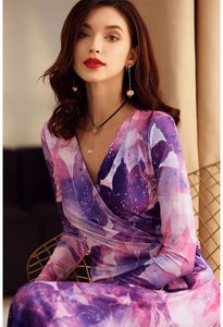 Floral Print Wrap Dresses Knee Length - 4