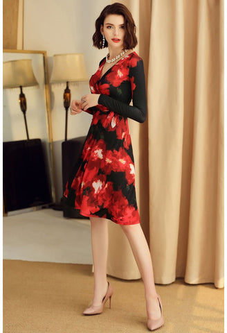 Image of Floral Print Wrap Dresses Knee Length Long Sleeves - 2