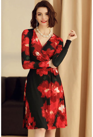 Image of Floral Print Wrap Dresses Knee Length Long Sleeves - 1