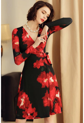 Image of Floral Print Wrap Dresses Knee Length Long Sleeves - 3