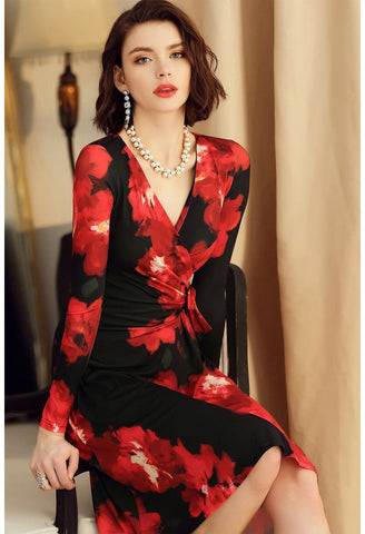 Image of Floral Print Wrap Dresses Knee Length Long Sleeves - 4