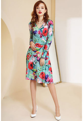 Image of Floral Print Wrap Dresses Long Sleeves Knee Length - 1