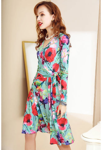 Image of Floral Print Wrap Dresses Long Sleeves Knee Length - 3