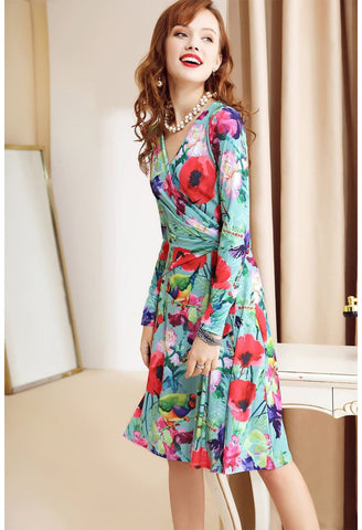 Image of Floral Print Wrap Dresses Long Sleeves Knee Length - 4