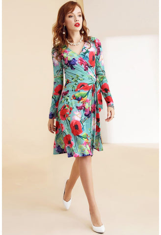 Image of Floral Print Wrap Dresses Long Sleeves Knee Length - 2