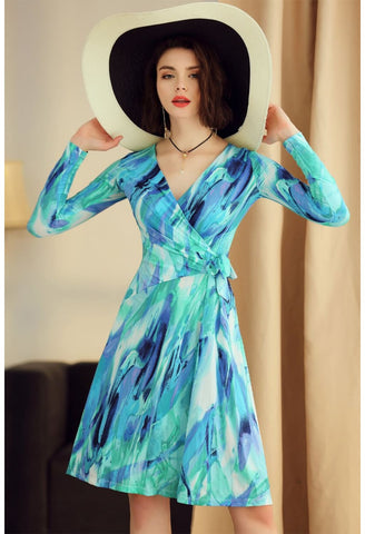 Image of Floral Print Wrap Dresses Long Sleeves - 1