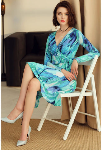 Image of Floral Print Wrap Dresses Long Sleeves - 5