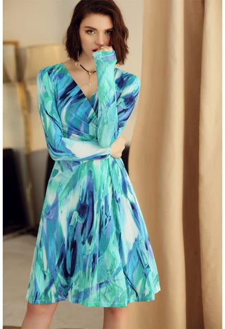 Image of Floral Print Wrap Dresses Long Sleeves - 2