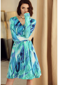 Floral Print Wrap Dresses Long Sleeves - 2