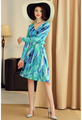 Image of Floral Print Wrap Dresses Long Sleeves - 4