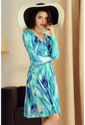 Image of Floral Print Wrap Dresses Long Sleeves - 3
