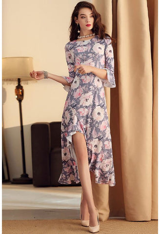 Image of High-Low Midi Dresses Flounced Trumpet Sleeves - 3