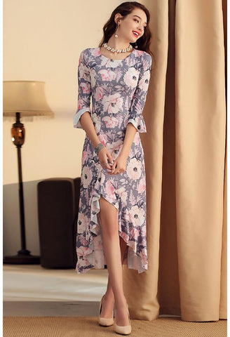 Image of High-Low Midi Dresses Flounced Trumpet Sleeves - 2