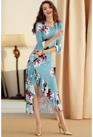 Image of High-Low Midi Dresses Trumpet Sleeves Flounce - 1