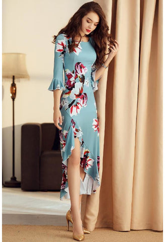 Image of High-Low Midi Dresses Trumpet Sleeves Flounce - 4