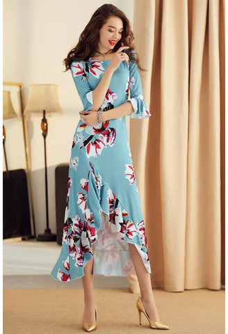 Image of High-Low Midi Dresses Trumpet Sleeves Flounce - 2